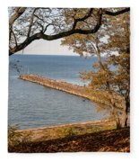 Pier In The Fall Fleece Blanket