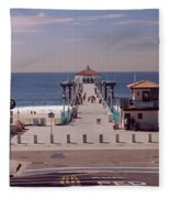 Pier Over An Ocean, Manhattan Beach Fleece Blanket