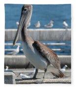 Pier Brown Pelican Fleece Blanket