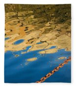 Pier Reflection And Rusty Chain Fleece Blanket