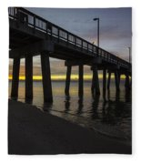 Pier Sunrise On A Cold January Morning Fleece Blanket