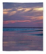 Pier Sunset Fleece Blanket