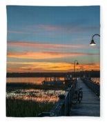 Pier Sunset Fleece Blanket