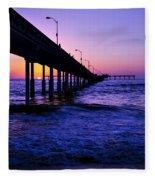 Pier Sunset Ocean Beach Fleece Blanket