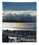 Piercing Cold Rays Upon The Waters Winter 2013 Fleece Blanket