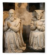 Pierre Jeannin And His Wife Sculpture Cathedral Autun Fleece Blanket
