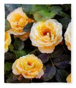 Pierre's Peach Roses Fleece Blanket