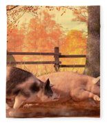 Pig Race Fleece Blanket