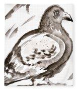 Pigeon I Sumi-e Style Fleece Blanket