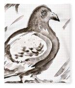 Pigeon II Sumi-e Style Fleece Blanket