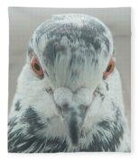Pigeon Portrait En Face Fleece Blanket