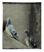 Pigeons In Damask Fleece Blanket