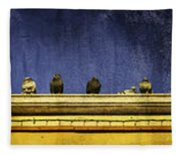 Pigeons On Yellow Roof Fleece Blanket