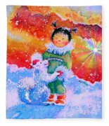 Pigtails And Wagging Tail Fleece Blanket