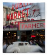 Pike Place Publice Market Neon Sign And Limo Fleece Blanket