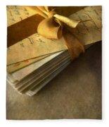 Pile Of Letters With Golden Ribbon Fleece Blanket