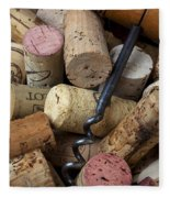 Pile Of Wine Corks With Corkscrew Fleece Blanket