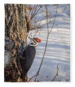 Pileated Woodpecker Winter Fleece Blanket