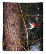 Pileated Woodpecker Fleece Blanket