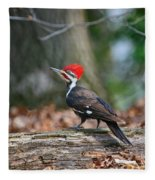 Pileated Woodpecker On Log Fleece Blanket