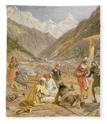 Pilgrims At Gangootree, From India Fleece Blanket