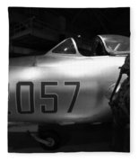 Pilot And His Airplane In The Hangar Fleece Blanket