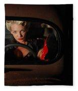 Pin Up Girl In A Classic Rat Rod Car Fleece Blanket