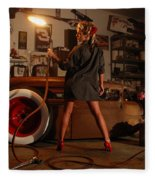 Pin Up Girl With Blow Torch Fleece Blanket