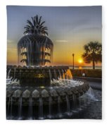 Pinapple Fountain Charleston Sc Sunrise Fleece Blanket