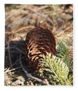 Pine Cone And Small Branch Fleece Blanket