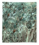 Pine Cones And Lace Lichen Fleece Blanket