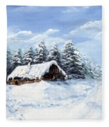 Pine Forest In Winter Fleece Blanket