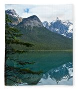 Pine Over Emerald Lake Reflection In Yoho National Park-british Columbia-canada Fleece Blanket