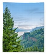 Pine Tree And Columbia River Gorge Fleece Blanket