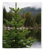 Pine Tree And Rain Drops Fleece Blanket