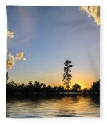 Pine Tree At Sunset Fleece Blanket