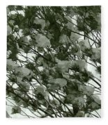 Pine Tree Branches Covered With Snow Fleece Blanket