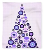 Pine Tree Ornaments - Purple Fleece Blanket