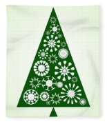 Pine Tree Snowflakes - Green Fleece Blanket