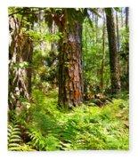 Pine Trees And Ferns Fleece Blanket