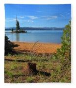 Pine Trees In Lake Almanor Fleece Blanket