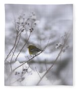 Pine Warbler In The Snow - Better Than Red Fleece Blanket