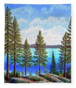 Pine Woods Lake Tahoe Fleece Blanket