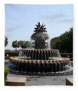 Pineapple Fountain Charleston River Park Fleece Blanket
