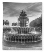 Pineapple Fountain In Black And White Fleece Blanket
