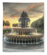 Pineapple Fountain Sunset Fleece Blanket