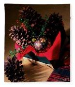 Pinecones Christmasbox Painted Fleece Blanket
