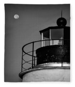 Piney Point Lighthouse And Moon In Black And White Fleece Blanket