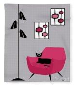 Pink 4 On Gray Fleece Blanket