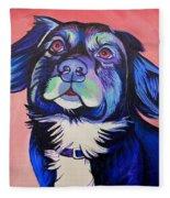 Pink And Blue Dog Fleece Blanket